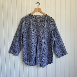 Talbots Paisley Pull Over Blouse Size XL